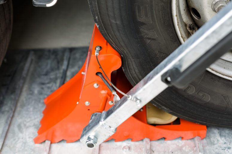 Truck tire sinks into POWERCHOCK 5 wheel chock